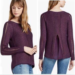 Lucky Brand   Metallic Mixed Long Sleeve Sweater S